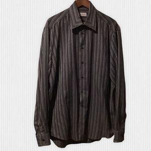 Versace Classic Black & Grey Striped Dress Shirt 46/18